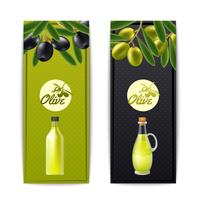 Set di banner verticale di olio d'oliva