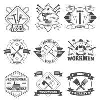 Set di etichette strumenti di lavoro vettore
