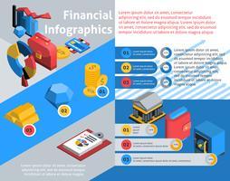Infografica finanziaria isometrica vettore