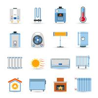 Riscaldamento Set di icone di colore piatto
