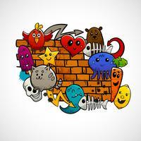 Concetto di colore piatto dei caratteri dei graffiti vettore