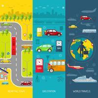Set di banner verticale piatto di trasporto vettore