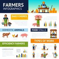 Set di infografica agricoltori vettore