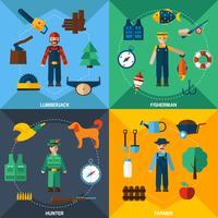 Set di icone di professioni di gestione della natura