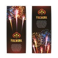 Set di banner verticale festivo fuochi d'artificio vettore