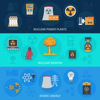 Set di bandiere piatte di energia nucleare vettore