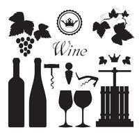 Collezione di icone di vino nero vettore
