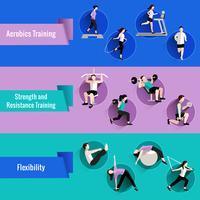 Set di banner piatto persone fitness
