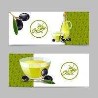 Set di Banner di olio d'oliva vettore