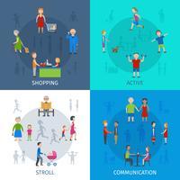 Set di icone di situazioni quotidiane persone vettore