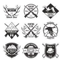 Set di etichette da caccia vintage vettore