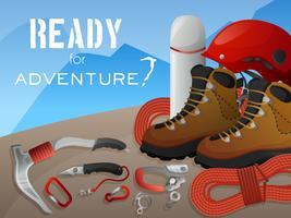 Banner di avventura di arrampicata in montagna vettore