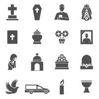 set di icone del funerale vettore
