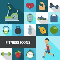 Set di icone piatte ombra di fitness vettore