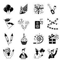 Icone di partito in bianco e nero vettore