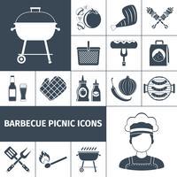 Icone di picnic nero barbecue impostate