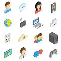 Set di icone isometriche di Internet vettore