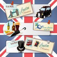 Set di banner turistico di Londra vettore