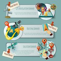 Set di banner di navigazione e routing vettore