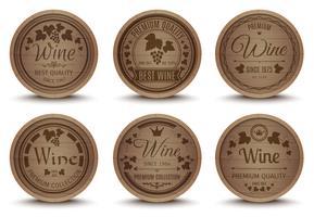 Set di icone di barili di vino vettore