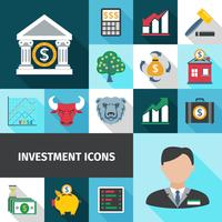 Set di icone di lunga ombra di investimento