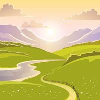 Paesaggio di montagna sullo sfondo vettore