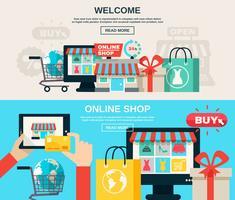 Set di banner piatto di Internet Store vettore