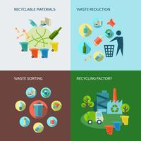 Set di icone di riduzione dei rifiuti e del riciclaggio