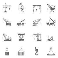 Icone nere della costruzione della gru della costruzione messe