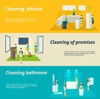 Set di banner piatto di pulizia nelle camere vettore