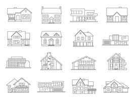 Set di icone di casa piatta vettore