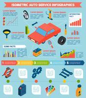 Auto Service isometrica infografica vettore