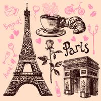 Set di simboli disegnati a mano di Parigi vettore