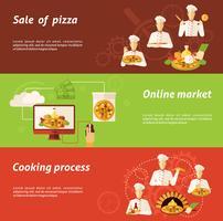 vendita pizza e banner di cucina vettore