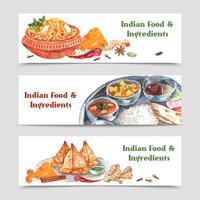Set di bandiere di cibo indiano vettore