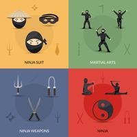 Set di icone ninja vettore