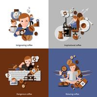 Caffè e relax icone impostate