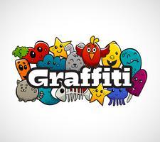 Concetto piano della composizione dei caratteri dei graffiti vettore