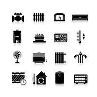 Riscaldamento icone set nero