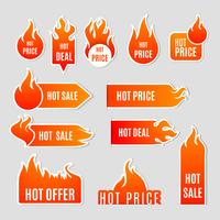 Set di icone piatto di vendita di fuoco vettore