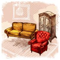 Illustrazione di schizzo di mobili vettore