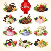 Grande set di dolci vettore