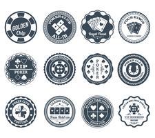 Set di etichette nere da poker