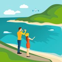 Manifesto turistico itinerante paese di turismo vettore