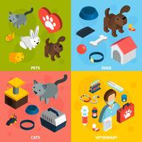 Set isometrico veterinario di animali domestici