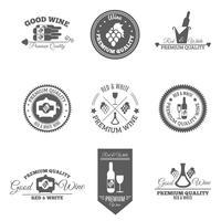 Set di etichette piatte per vino vettore