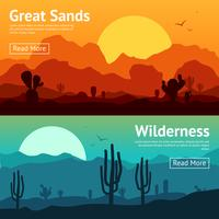 Set di banner del deserto vettore