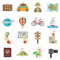 Icone di viaggio piatte