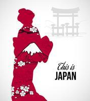illustrazione di silhouette geisha