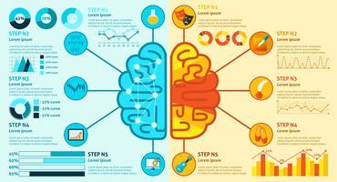 Infografica del cervello sinistro e destro